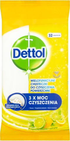 Dettol Power & Fresh Antibakteriálne viacúčelové obrúsky – Citrón & limeta