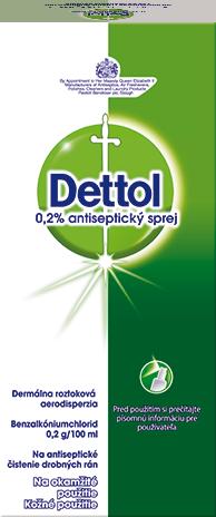 Dettol 0,2% antiseptický sprej Dermálna roztoková aerodisperzia